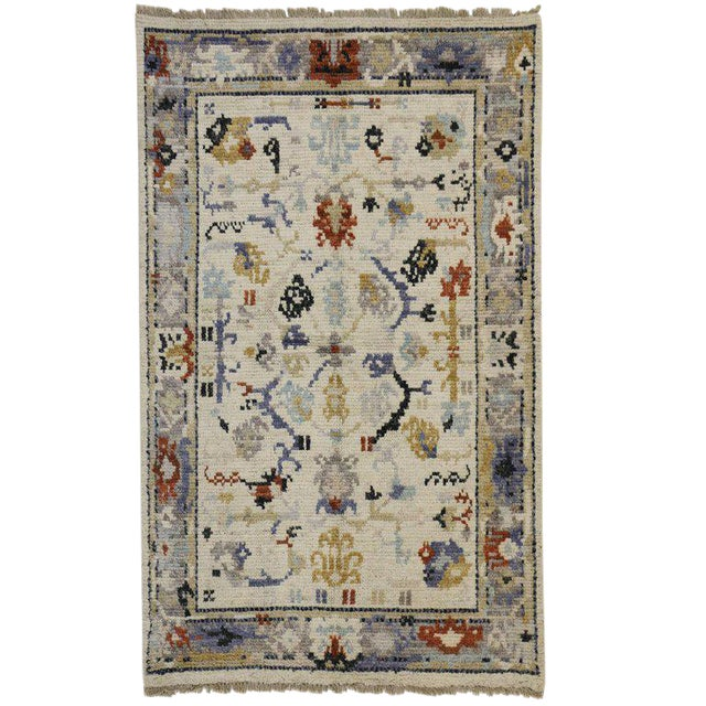 Transitional Blue and Cream Oushak Rug with Modern Traditional Style For Sale