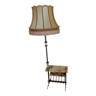 Vintage Brass and Marble Floor Lamp with Side Table and Magazine Rack and Shade For Sale
