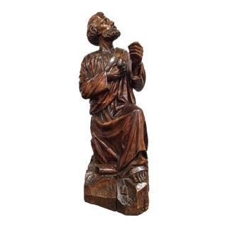 18th Century French Carved Walnut Statue of Saint Peter Kneeling For Sale