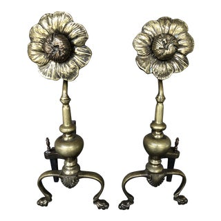 Antique Brass Sunflower Andirons - a Pair For Sale