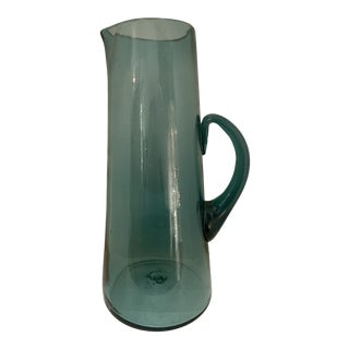 1970s Vintage Tall Handblown Glass Pitcher For Sale