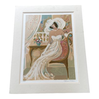 "Isaac Maimon Signed ""Camille"" The Lady in White Serigraph For Sale"