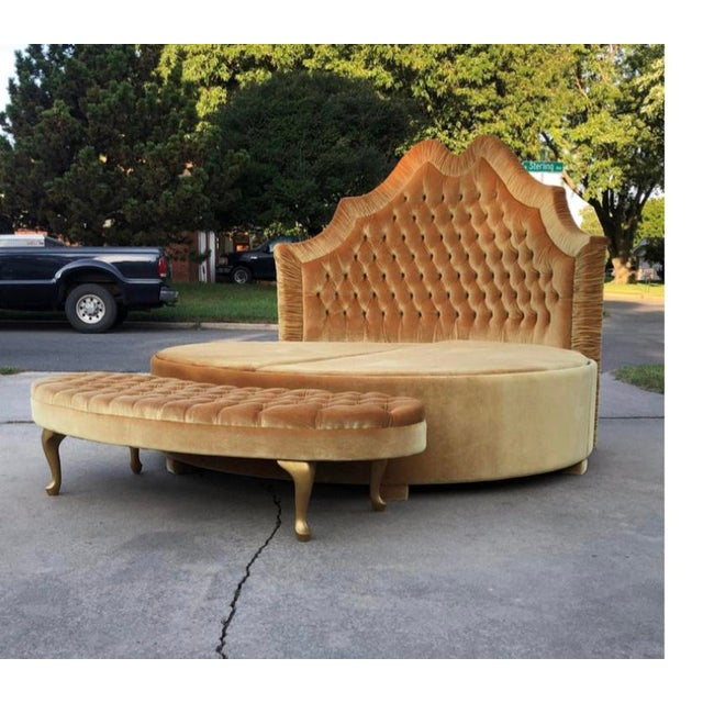 Not Yet Made - Made To Order Round Upholstered Tufted Bed For Sale - Image 5 of 7