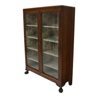 Claw Feet Tiger Oak Double Door Bookcase Curio Cabinet Wallpaper Interior For Sale