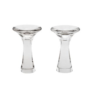Tapio Wirkkala Scandinavian Signed Glass Candle Holders - a Pair