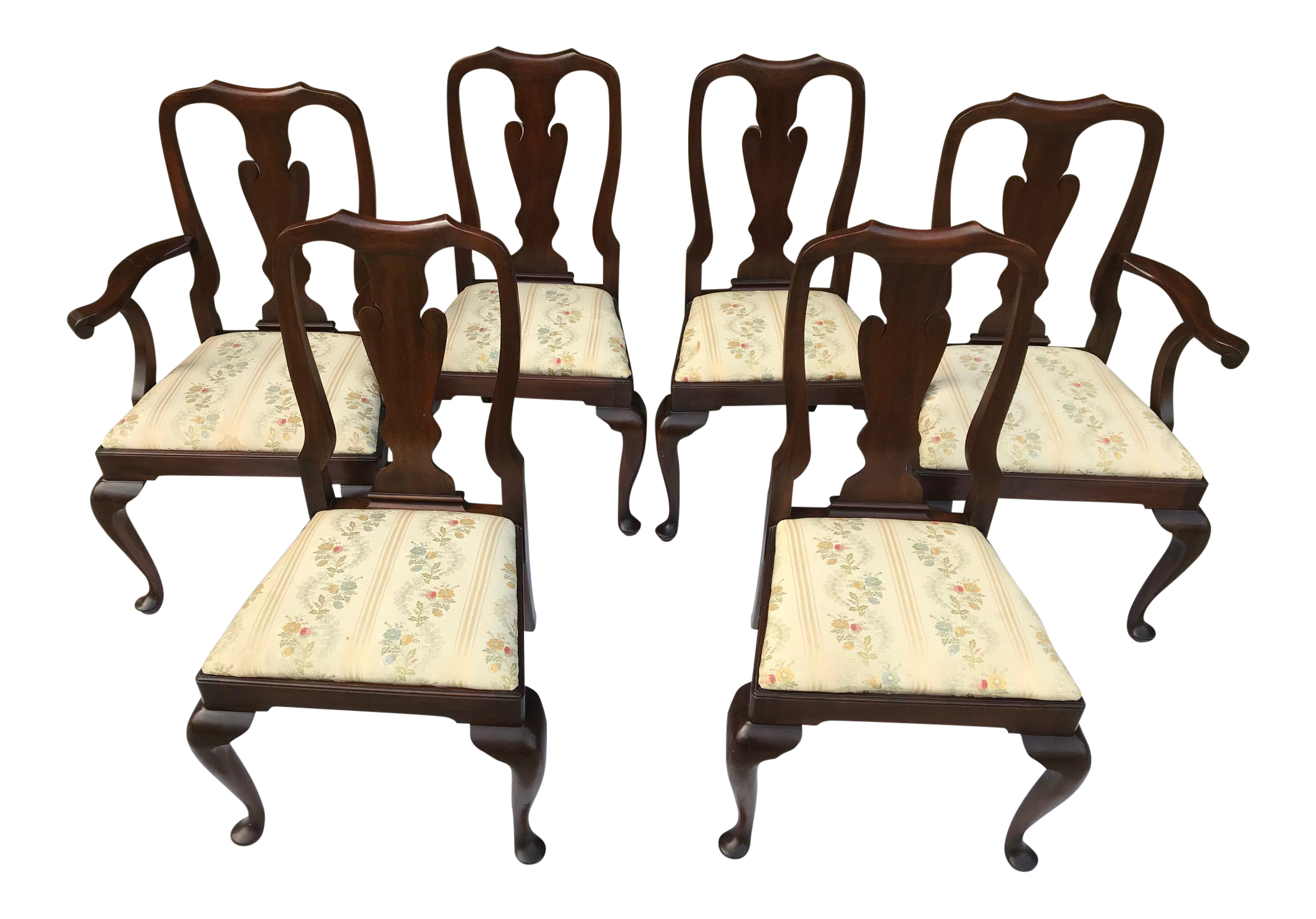 Beau 1960s Vintage Henkel Harris Mahogany Dining Room Chairs  Set Of 6 For Sale
