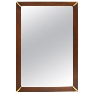 Mid-Century Modern Walnut Frame with Brass Diamond Accents Wall Mirror For Sale
