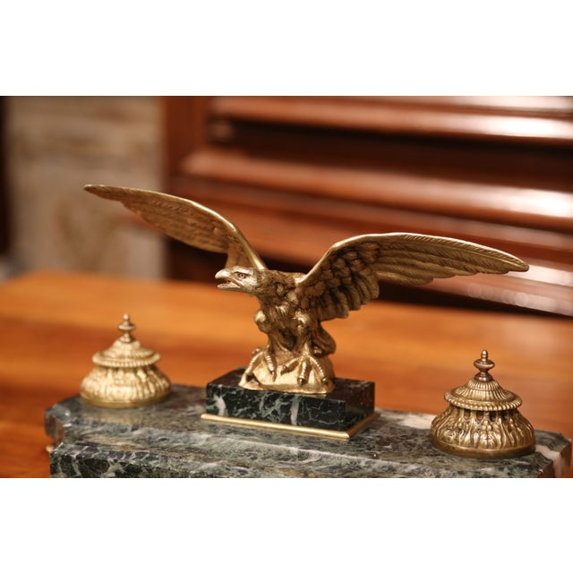Empire 19th Century French Bronze Eagle Green Marble Inkwell and Ink Containers For Sale - Image 3 of 8