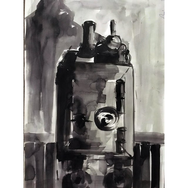 Abstract Original Black & White Painting - Image 2 of 3