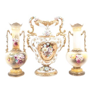 Lenwile Ardalt Victorian Floral Vases - Set of 3 For Sale