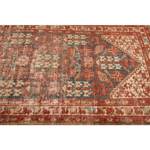 "Blue Apadana-Antique Persian Distressed Rug, 3'4"" X 13'7"" For Sale - Image 8 of 11"