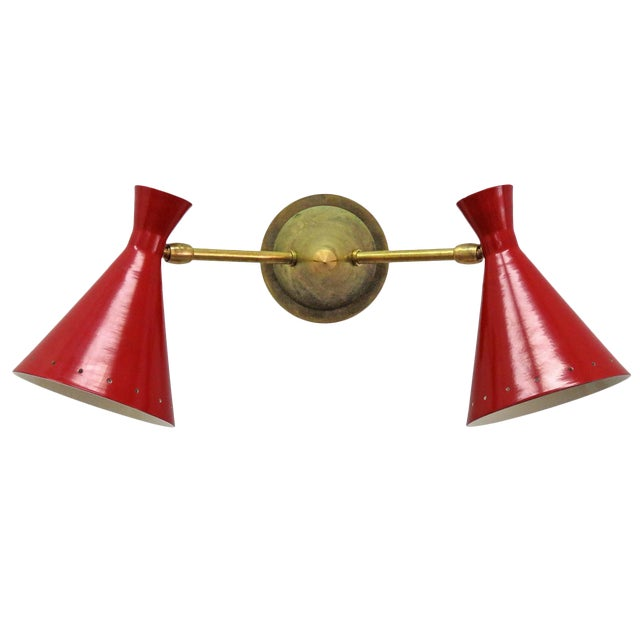 Red Italian Double Wall Light - Image 1 of 10