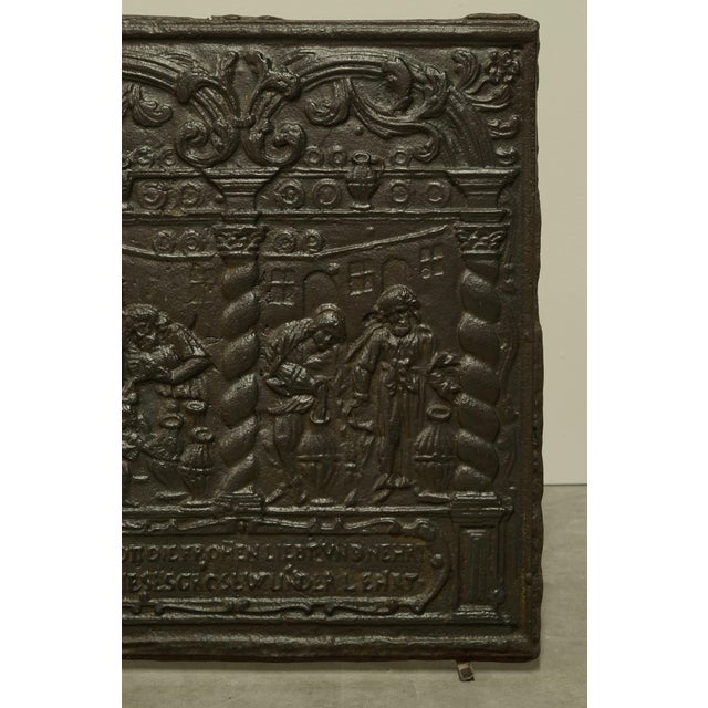 Gothic Unique 16th Century Antique Fireback, Biblical Wine Feast For Sale - Image 3 of 6