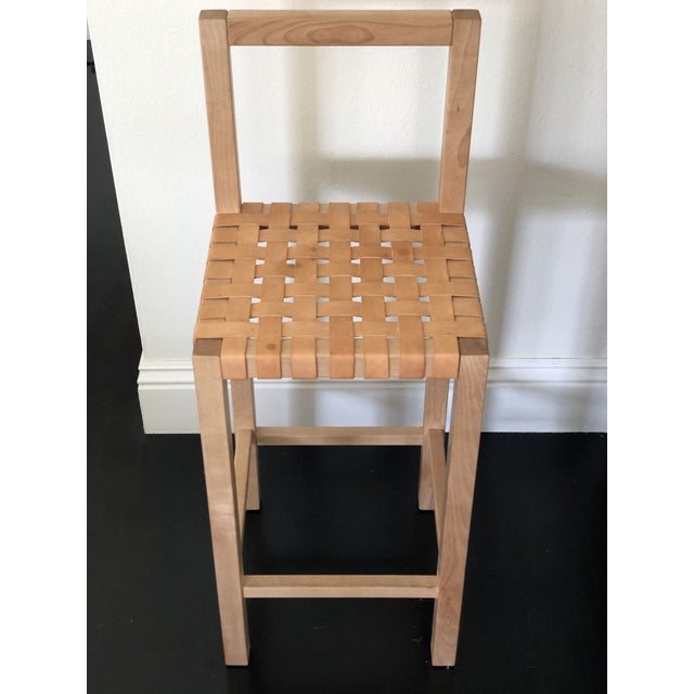 Donald Judd Modern Scandinavian Modern Birch Leather Woven Counter Stool For Sale - Image 4 of 4