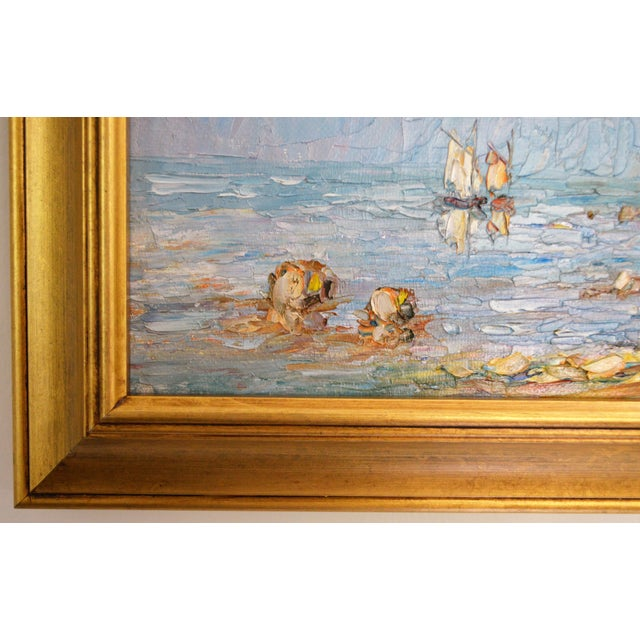 Blue Water Landscape Oil on Canvas Painting Plein Air Gold Frame For Sale - Image 4 of 12
