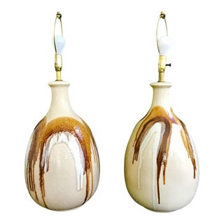 David Cressey Style Drip Glaze Lamps - a Pair For Sale