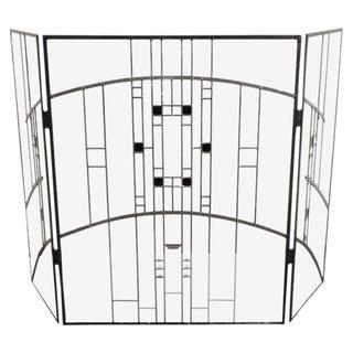 Modernist Leaded Glass Rectilinear Firescreen, Frank Lloyd Wright Design