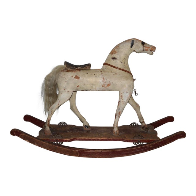 19th Century American Folk Art Rocking Horse For Sale