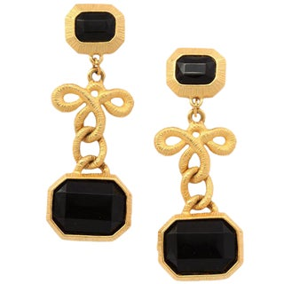 Black Stone and Gilt Dangle Earrings For Sale