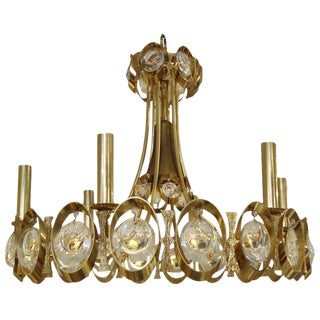 1960s Hollywood Regency Sciolari Gold and Cut Crystal Chandelier For Sale