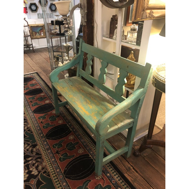 1920s Distressed Turquoise Antique Santa Fe Bench For Sale - Image 5 of 13