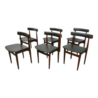 Frem Rojle Mid-Century Danish Rosewood Black Vinyl Nesting Dining Chairs - Set of 6 For Sale
