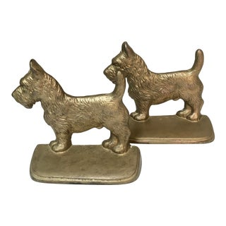 Pair of Vintage Brass Bookends of Scottie Dogs For Sale