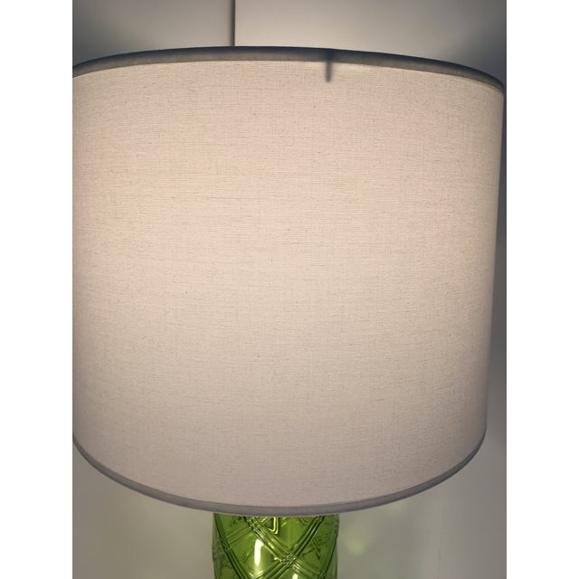 Green Glass Lamp With Bamboo Pattern - Image 6 of 6