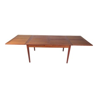Danish Modern Teak Dining Table With Draw Leaf Extension For Sale