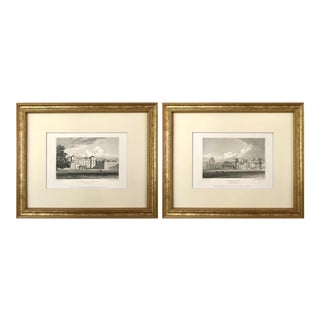 Antique English Architectural Engravings of English Manors 19th Century - a Pair For Sale