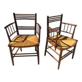 Antique Hand Made Rush Side Chairs - a Pair For Sale