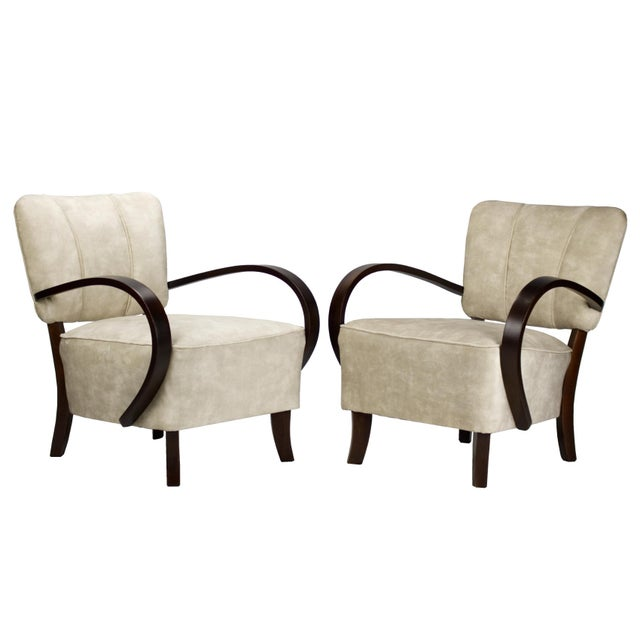 1930s Model H 237 Art Deco Armchairs by Jindrich Halabala- A Pair For Sale - Image 6 of 6