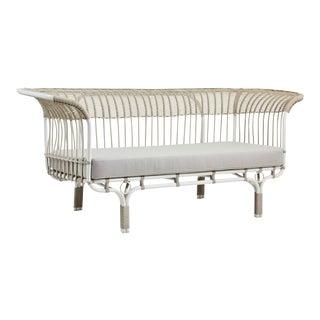 Franco Albini Belladonna Exterior Sofa - Dove White - Sunbrella Sailcloth Seagull Cushion For Sale