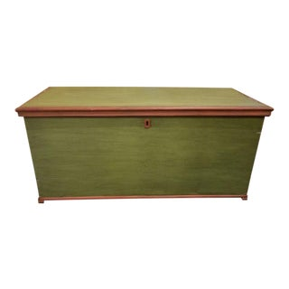 19th Century Antique Green Swedish Trunk For Sale