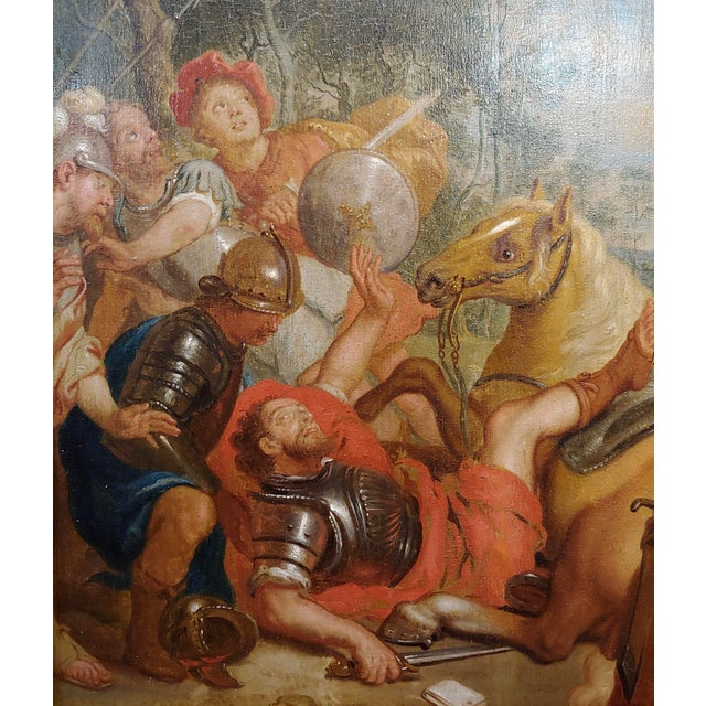 """16th/17th Century Old Master """"Wounded Warrior"""" Oil Painting For Sale - Image 4 of 11"""
