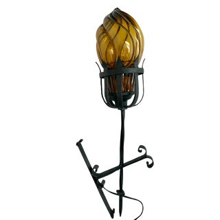 Mid 20th Century Spanish Wrought Iron and Amber Glass Wall Sconce For Sale