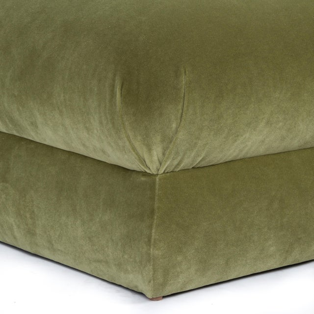 Casa Cosima Casa Cosima Milan Ottoman in Olive Velvet, a Pair For Sale - Image 4 of 7