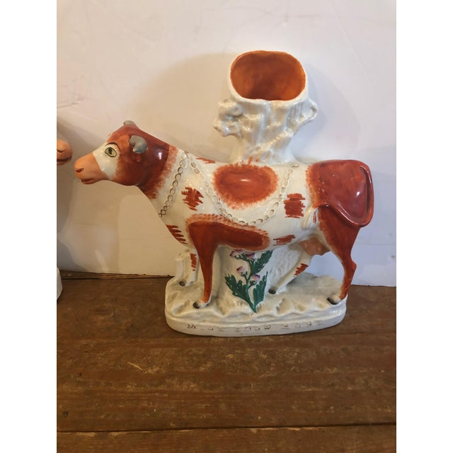 Antique Cow Staffordshire Spill Vases - a Pair For Sale In Philadelphia - Image 6 of 13