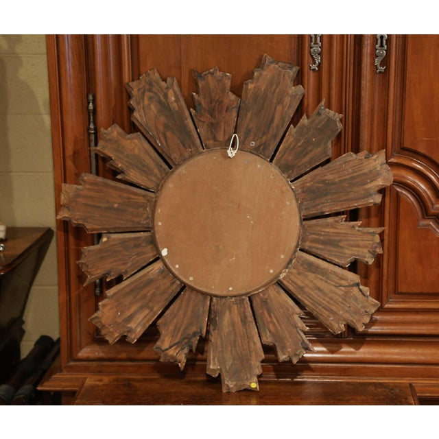 Giltwood Early 20th Century French Carved Giltwood Sunburst Mirror For Sale - Image 7 of 8