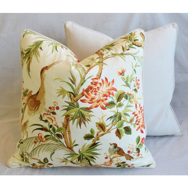 """Chinoiserie Floral Birds & Crane Feather/Down Pillows 24"""" Square - Pair For Sale - Image 11 of 13"""