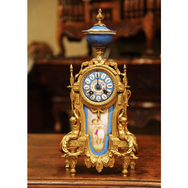 Late 19th Century 19th Century French Louis XVI Gilt Metal and Porcelain Mantel Clock For Sale - Image 5 of 11