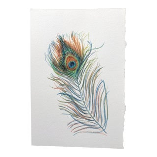 Contemporary Watercolor Painting on Paper of Peacock Feather - 2 For Sale