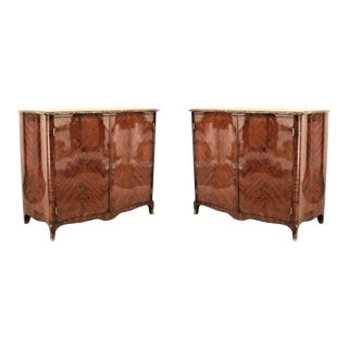 Pair of French Louis XV Style Veneered Commodes For Sale