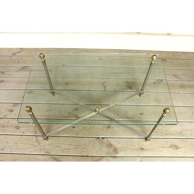 Hollywood Regency Vintage Brass Brushed Nickel X Base Coffee Table For Sale - Image 3 of 7