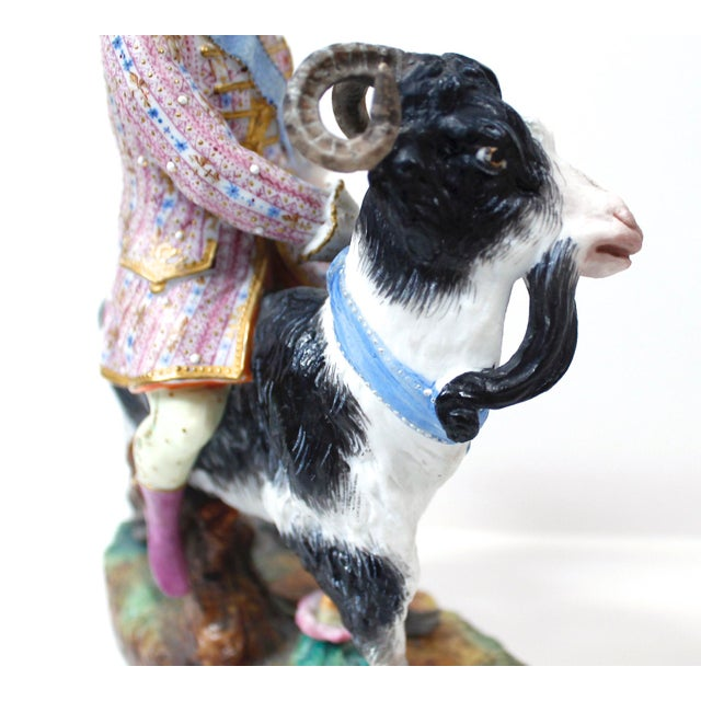 French Vion Et Baury Count Bruhl's Tailor, Bisque Porcelain Goat and Rider Figurine For Sale - Image 3 of 9