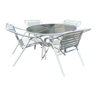 Brown Jordan Outdoor Dining Table + 4 Chairs For Sale