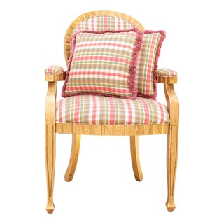 1990s Antique French Gold Plaid Silk Louis XVI Armchair For Sale