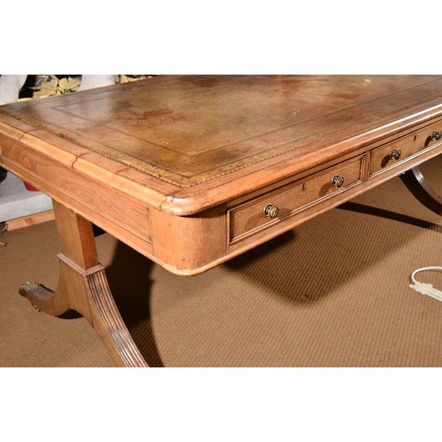 Traditional 19th Century Georgian Revival Partner's Library Table For Sale - Image 3 of 8