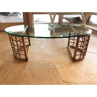 1970s Mid Century Modern Rattan Bamboo and Glass Coffee Table Preview