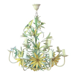 French Large Yellow Lilies Tole Chandelier Circa 1950 For Sale